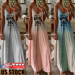 Women Summer Straps Casual Long Maxi Evening Party Cocktail Beach Dress Sundress
