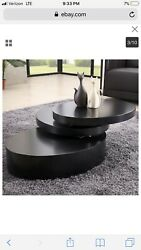 Round Coffee Table Rotating Contemporary Modern Living Toom Furniture $329.00