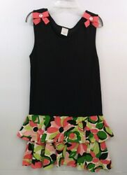 Girls Size 6 Gymboree Black and Tropical Print Dress w Bow Embellishments