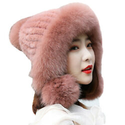 Winter Warm Fur Hats Women Real Mink Fur Earmuffs Caps With Fox Fur Brim 9Colors $45.99