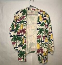 Christian Dior Colorful Beach Cardigan Palm Trees Sail Boats Shoulder Pads Small