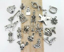 BOO 20 Different HALLOWEEN Charms Antique Silver Mixed Charm Collection Lot $8.50