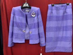 LILYamp;TAYLOR SKIRT SUIT LILAC SKIRT LENGTH 32quot; NEW WITH TAG SIZE 18 RETAIL$320 $119.99