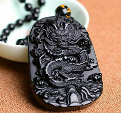 Natural Jewelry Lucky Amulet Black Dragon Pendant Necklace Obsidian Carving AAA+