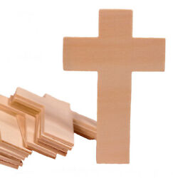25 pack - Unfinished Wood Cross Shape Cutout Slices 4.25 Inch Wooden Craft DIY