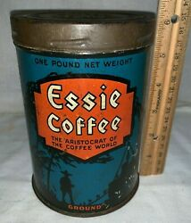 ANTIQUE ESSIE COFFEE TIN LITHO 1LB CAN JAMES BUTLER GROCERY CO NEW YORK STORE
