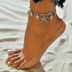 Silver Plated Starfish Rune Pendant Ankle Anklet Bracelet Barefoot Beach Jewelry
