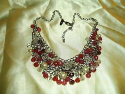 Pink Faux Pearl Silver Charm Bib Rhinestone Necklace Marked NY