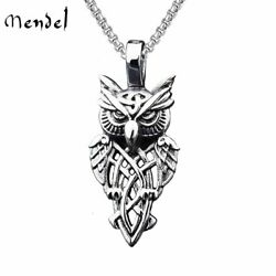 MENDEL Stainless Steel Mens Owl Pendant Necklace Men Jewelry Free Shipping Chain