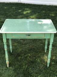 Vintage Green Enamel Top Table With Drawer