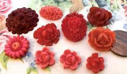 Vintage Lovely Lucite Flower Cabs Mix Japan 10