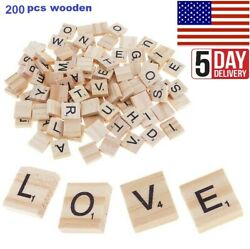 200 PC Wooden Scrabble Tiles Black Letters Numbers For Craft Alphabets