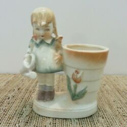 Vintage Old Little girl wwatering can figurine toothpick match flower holder?
