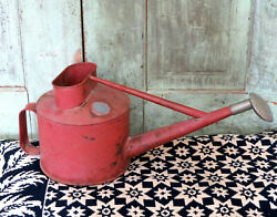 Old HAWS Metal Watering Can chippy old red paint Tala Works Stourbridge Eng AAFA
