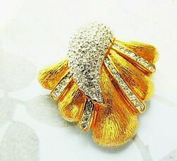 Vintage Butler Designer Brooch Gold Metal Clear Pave Rhinestones Shell Style