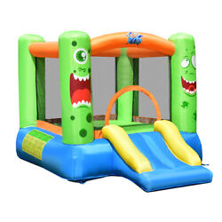 Inflatable Bounce House Jumper Castle Kids Playhouse w Basketball Hoop