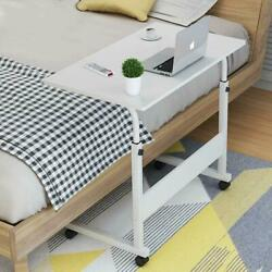 Height Adjustable Rolling Laptop Desk Cart Over Bed Hospital Table Stand White $26.99
