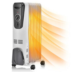1500W Electric Oil Filled Radiator Space Heater 5.7 Fin Thermostat Room Radiant