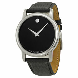 New Movado 2100002 Museum Black Leather Analog Quartz Silver Tone Men's Watch