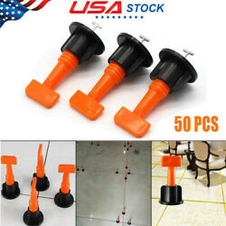 50x Reusable Flat Ceramic Floor Wall Construction Tools Tile Leveling System Kit