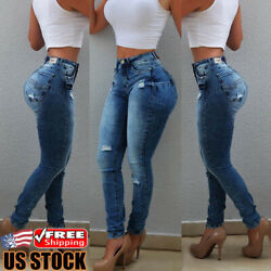 Womens High Waist Ripped Jeans Skinny Stretch Denim Pants Casual Pencil Trousers