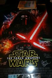 STAR WARS: THE FORCE AWAKENS CAST SIGNED 27x40 MOVIE POSTER CA COA 19 Signatures