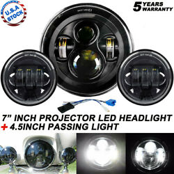 Fit Harley Electra Glide Classic 7quot; LED Headlight 4.5quot; Passing Lights $58.99