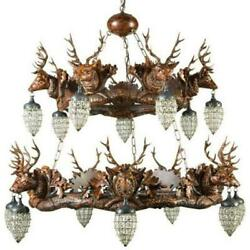 CHANDELIER MOUNTAIN RUSTIC STAG HEAD DEER 2-TIER 14-LIGHT RESIN NEW THIS