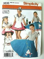 Girls 50#x27;s Costumes Car Hop amp; Poodle Skirts NEW Simplicity Pattern 3836 Sz 7 14 $8.95
