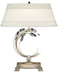 TABLE LAMP CRYSTAL LAUREL RIGHT-SIDE FACING 1-LIGHT ANTIQUE TAUPE SILVER-
