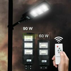 90W Commercial LED Solar Street Light Motion Sensor Area Road Spotlight Outdoor