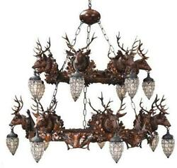 CHANDELIER MOUNTAIN RUSTIC STAG DEER 10-LIGHT 2-TIER RESIN NEW 6-FT CHAI