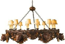 CHANDELIER MOUNTAIN RUSTIC 7 ASPEN BEAR 14-LIGHT RESIN NEW UL-LISTED HAN