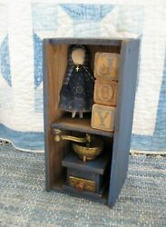 Small Antique Wood Cubby Box Cupboard Blue Paint Free Shipping