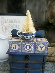 Antique Blue Willow Toy Cup w Tree Vintage Wood Blocks Spell JOY  Free Shipping