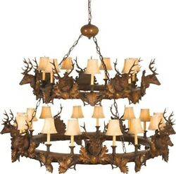 MOUNTAIN CHANDELIER RUSTIC STAG HEAD DEER 2-TIER TIERED SMALL 3-LIGHT 1