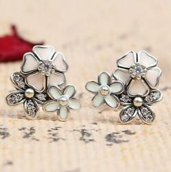 NEW AUTHENTIC PANDORA DREAMY POETIC BLOOMS STUDS EARRINGS #290686ENMX