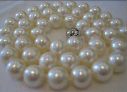 NEW 10MM SOUTH SEA WHITE shell PEARL ROUND NECKLACE 18 INCH AAA