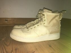 NIKE AIR FORCE 1-SF-AF1 MID mens beige golden linen sneakers  [ size 12 ]