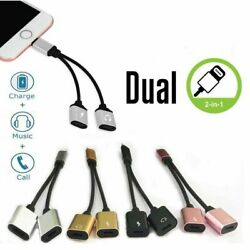 Dual Adapter For Apple iPhone XS XR X 7 8 + Splitter Audio Earphone AUX Charger $4.99
