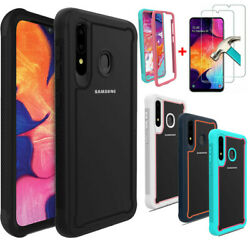 For Samsung Galaxy A10e Case Hybrid Armor Rubbed Phone Cover + Tempered Glass