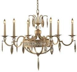 CHANDELIER JOHN-RICHARD 6-LIGHT ANTIQUE SILVER LEAF FACETED MARQUISE CRY