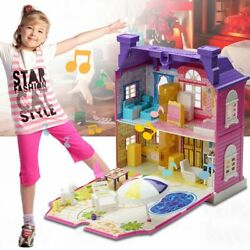 Doll House With Furniture Miniature House Dollhouse Assembling Toys For Kids YK
