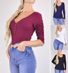 Warm Thermal Knit Henley Shirt Top Women's V-Neck Long Sleeve Solids Stretchy  $10.49