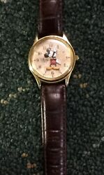 Vintage Disney Time Works Micky Mouse 3 D Quartz Watch W Leather Strap Untested $24.99