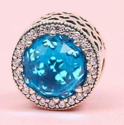 NEW AUTHENTIC PANDORA SILVER RADIANT HEARTS SKY BLUE CRYSTAL BEAD #791725NBS