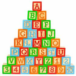"ABC Wooden Building Blocks for Baby. Large (1 ¾"" ) Jumbo Size w Letters Num..."