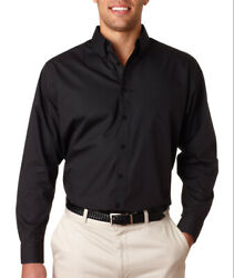 UltraClub Button Down Dress Shirt 8330 Plain Men's Performance Poplin