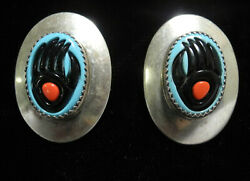 GORGEOUS NAVAJO OLD PAWN TURQUOISE BEAR PAW CONCHO EARRINGS!