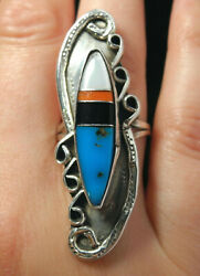 GORGEOUS OLD PAWN ZUNI NATURAL TURQUOISE INLAY RING! NR!